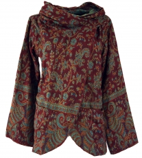 Cape, wrap jacket Boho chic - wine