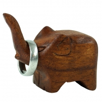 Deco Elephant, small wood elephant - Ring holder elephant