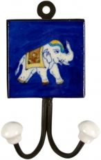Double wall hook, coat hook with handmade ceramic tile - Model 2