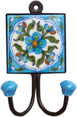 Double wall hook, coat hook with handmade ceramic tile - model 7
