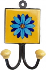 Double wall hook, coat hook with handmade ceramic tile - model 6