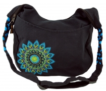 Ethno Boho Shoulder Bag, Goa Bag Mandala - black/turquoise