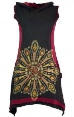 Ethno Minidress Mandala, embroidered lace dress - coffee