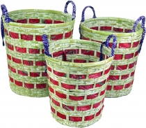 Exotic basket in 3 sizes - lemon/red