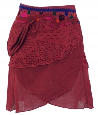 Extravagant wrap skirt with embroidery and small side pocket - wi..
