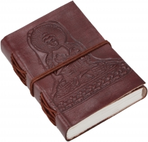 Notebook, leather book, diary with leather cover - Buddha/9*12 cm