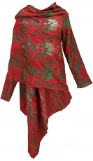 Wide cape, convertible wrap jacket Boho chic - red/green