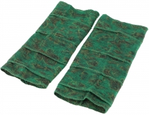 Patchwork hand gauntlets, Ethno Goa arm warmers - green