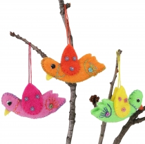 3 he set colorful, handmade decorative birds from felt, tree hang..