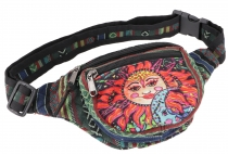 Practical hemp belt bag, Ethno belly bag Sidebag - la Luna green