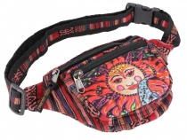 Practical hemp belt bag, Ethno belly bag Sidebag - la Luna red