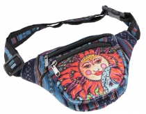 Practical hemp belt bag, Ethno belly bag Sidebag - la Luna petrol