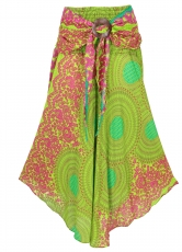 Boho summer skirt, maxi skirt hippie chic - lemon green
