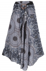 Boho summer skirt, maxi skirt hippie chic - black/blue grey