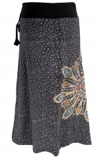 Maxi skirt, long skirt Mandala, Boho skirt - black/grey