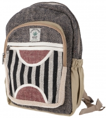 Small ethnic hemp backpack striped - black