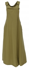 Bib skirt, strap dress, hippie skirt - olive green
