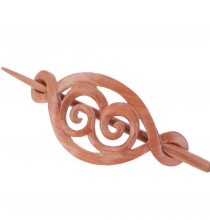 Ethno wood hairclip with stick, Boho hair ornament - spiral