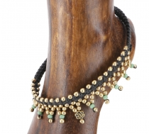 Anklet macramé with pearls - Model 1