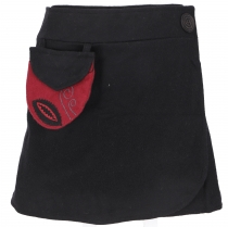 Embroidered wool felt wrap skirt Cacheur - black