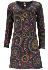 Hippie mini dress Boho chic, long sleeve tunic Mandala - black/le..