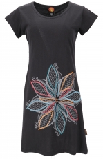 Hippie mini dress Boho chic, alternative tunic Flora - black