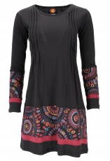 Hippie mini dress Boho chic, Tunic - black/burgundy