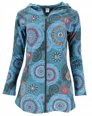 Long Boho Hippie chic jacket, embroidered jacket - petrol/turquoi..