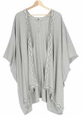 Short embroidered summer kimono, caftan, beach dress - light grey