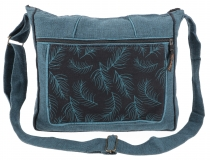 Ethno shoulder bag, Boho bag feather, Nepal bag - petrol