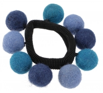 Hair tie `felt ball` - blue