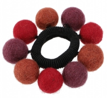 Hair tie `felt ball` - bordeaux red