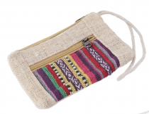Ethno hemp cosmetic bag - purple
