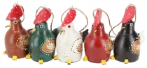 set of 5 pendants, small wooden figure, animal figure rooster
