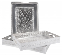 Tray in 3 sizes, embossed aluminium box set