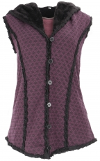 Goa vest with wide fluffy hood `Flower of Life` - purple