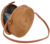 Woven handbag, basket bag, rattabag, Bali bag round - Model 7
