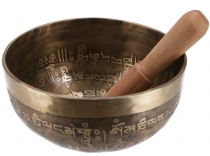 Singing bowl, handmade in Nepal with marquetry and Buddhist/Tibet..