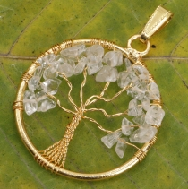 Tree of life amulet, golden pendant `Tree of life` - Bergktristal