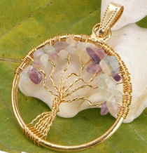 Tree of life amulet, golden pendant `Tree of life` - Amethyst/Moo..