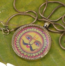 Indian amulet, talisman chain with medallion - Indian sun