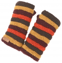 Striped cuffs from Nepal, hand knitted wrist warmers made of virg..