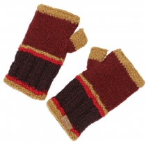 Hand cuffs, knitted wool cuffs from Nepal - bordeaux red