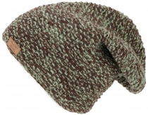 Woolly hat, melange knitted hat from Nepal - light green/chocolat..