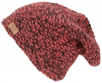 Woolly hat, melange knitted hat from Nepal - raspberry red/black