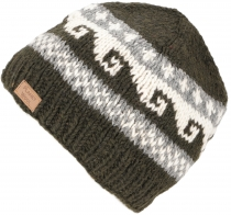 Beanie cap, knitted cap with meander pattern from Nepal - dark gr..