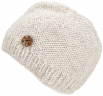 Beanie cap, knitted hat with pretty snowflake button from Nepal -..