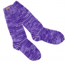 Hand knitted sheep wool socks, house socks, Nepal socks - purple