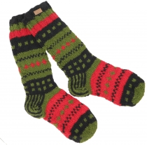 Hand knitted sheep wool socks, Nepal socks - green