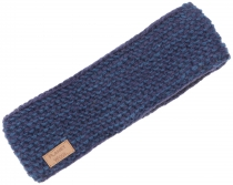 Wool-knit headband, melted hand-knit ear warmer - blue